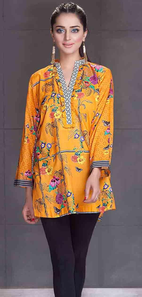 2cb236937b So kamal yellow short shirt new eid dress designs for girls in Pakistan 2017