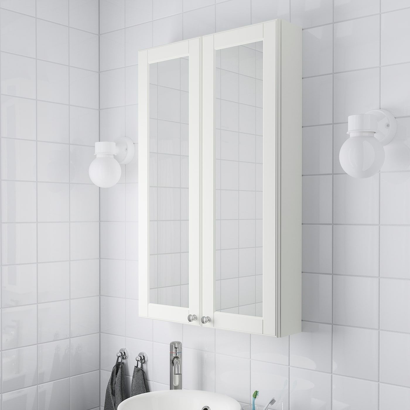 Godmorgon Mirror Cabinet With 2 Doors Kasjon White 23 5 8x5 1 2x37 3 4 In 2020 Mirror Cabinets Tempered Glass Shelves Mirror