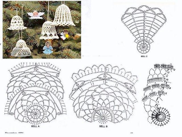campanitas en crochet. moldes | Navidad | Pinterest | Molde, Navidad ...