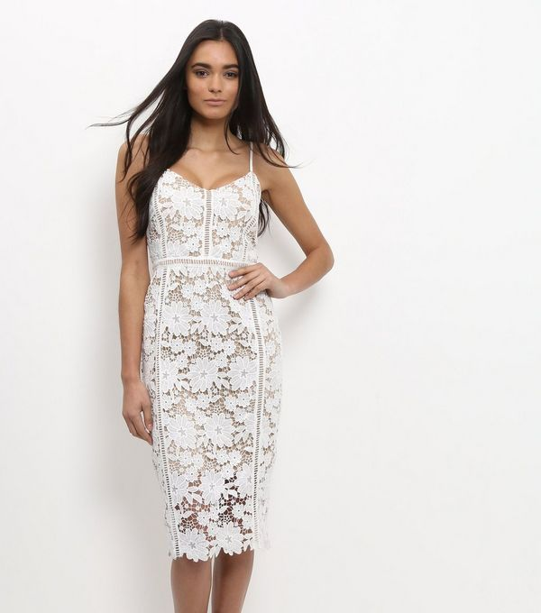 White Lace Ladder Trim Bodycon Midi Dress  | New Look
