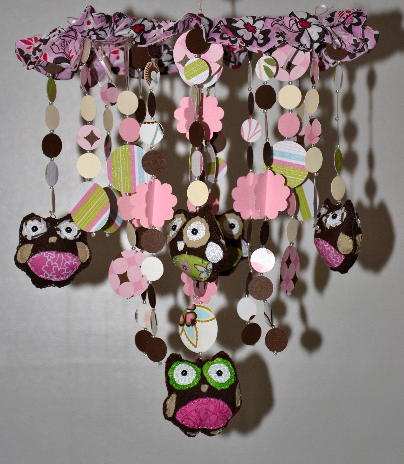 Too hoot for owls crib mobile pinkbrown nursery decor baby too hoot for owls crib mobile pinkbrown nursery decor baby shower gift baby chandelier by pearlescent arubaitofo Gallery