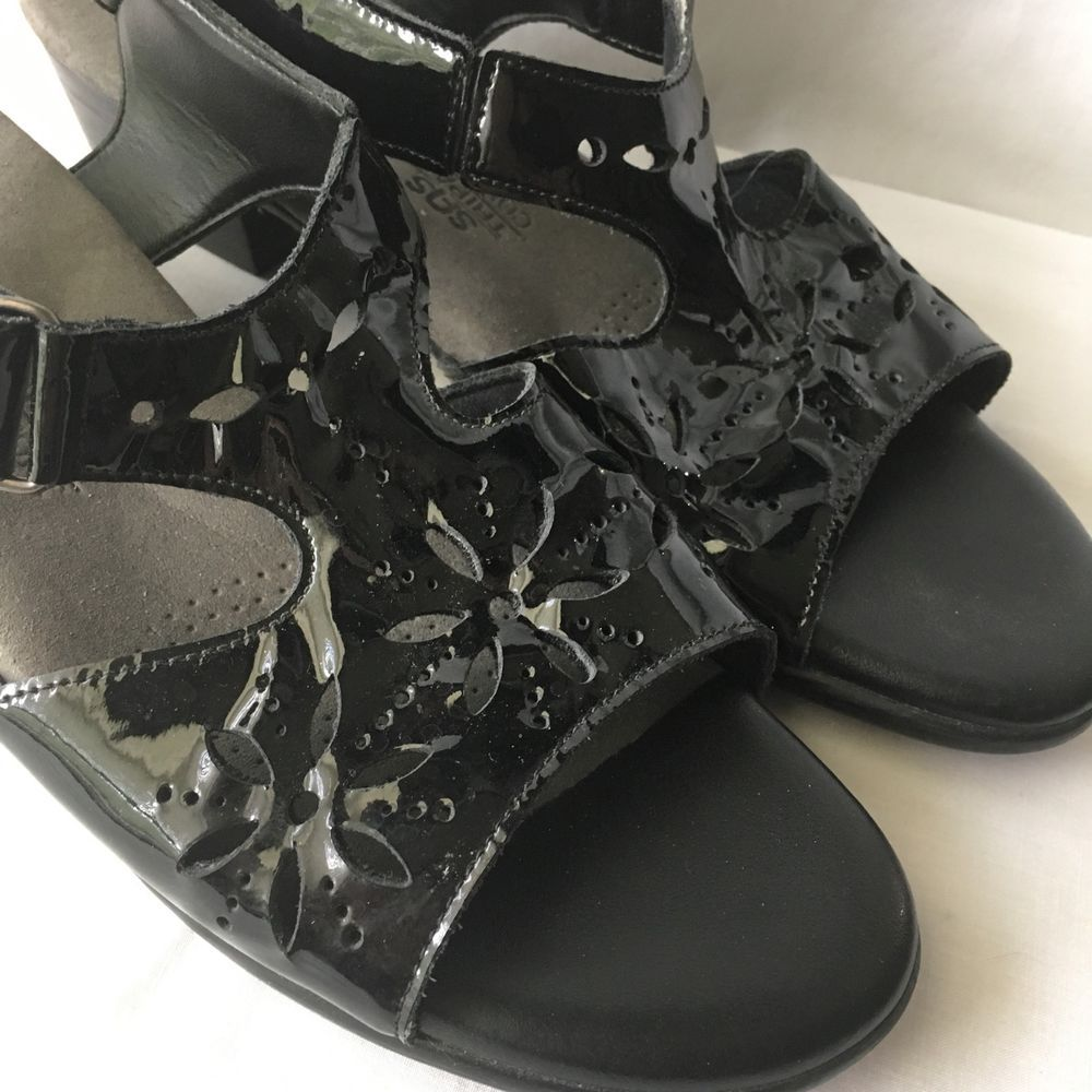 08ee1680f76b SAS Shoes Womens Sunburst Low Heel Dress Sandals Black Patent Leather Size  9.5 N  SAS
