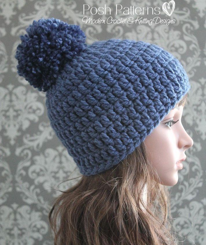 Crochet PATTERN - Easy Crochet Pom-Pom Beanie Pattern | Gorro tejido ...