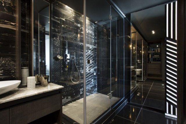 Black bathroom, Houzz. http://www.kenisahome.com | 2017 Bathroom ...