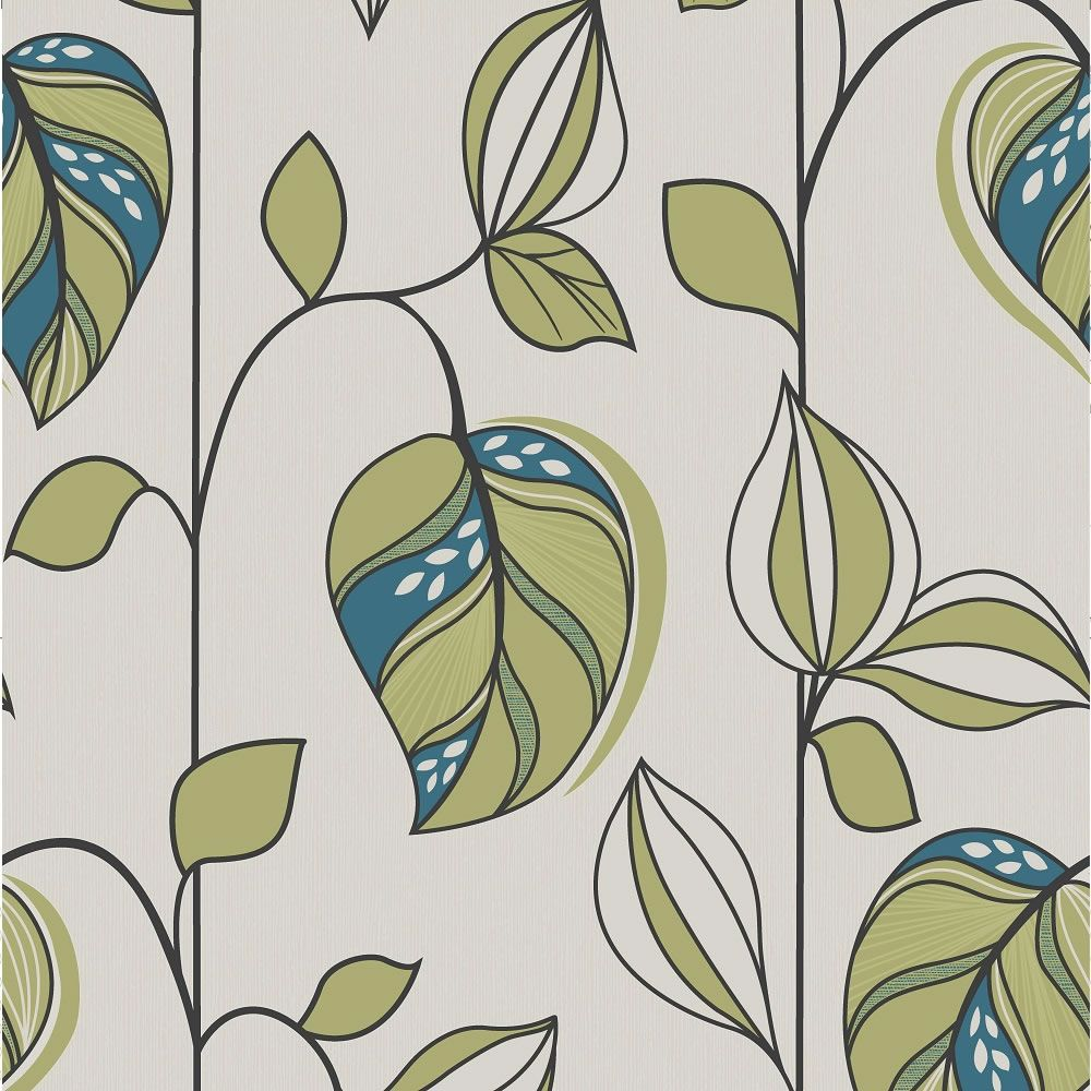 Wilko Leaf Green And Teal Wallpaper
