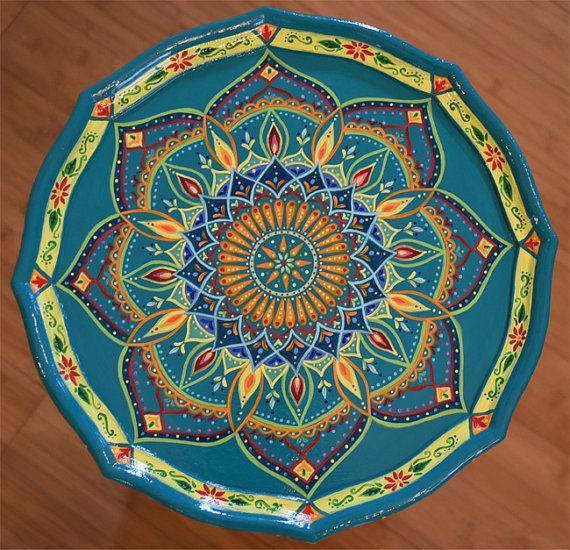 hand painted table painted furniture boho style bl mchen pinterest bemalte m bel m bel. Black Bedroom Furniture Sets. Home Design Ideas