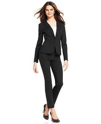 Grace Elements Black Ponte-Knit Jacket & Slim Straight-Leg Pants ...