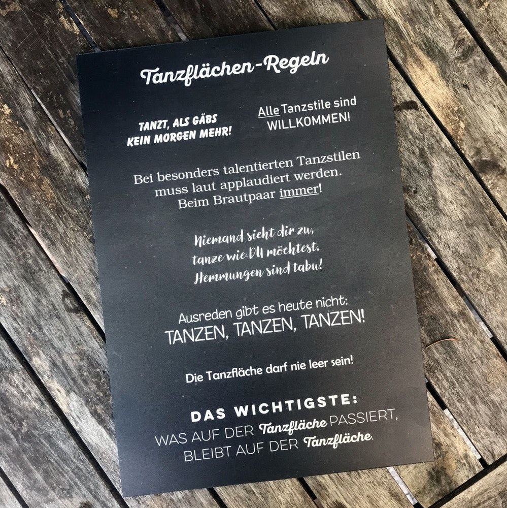 Hochzeitsdeko Schild: Tanzflächen Regeln in weiß / schwarz
