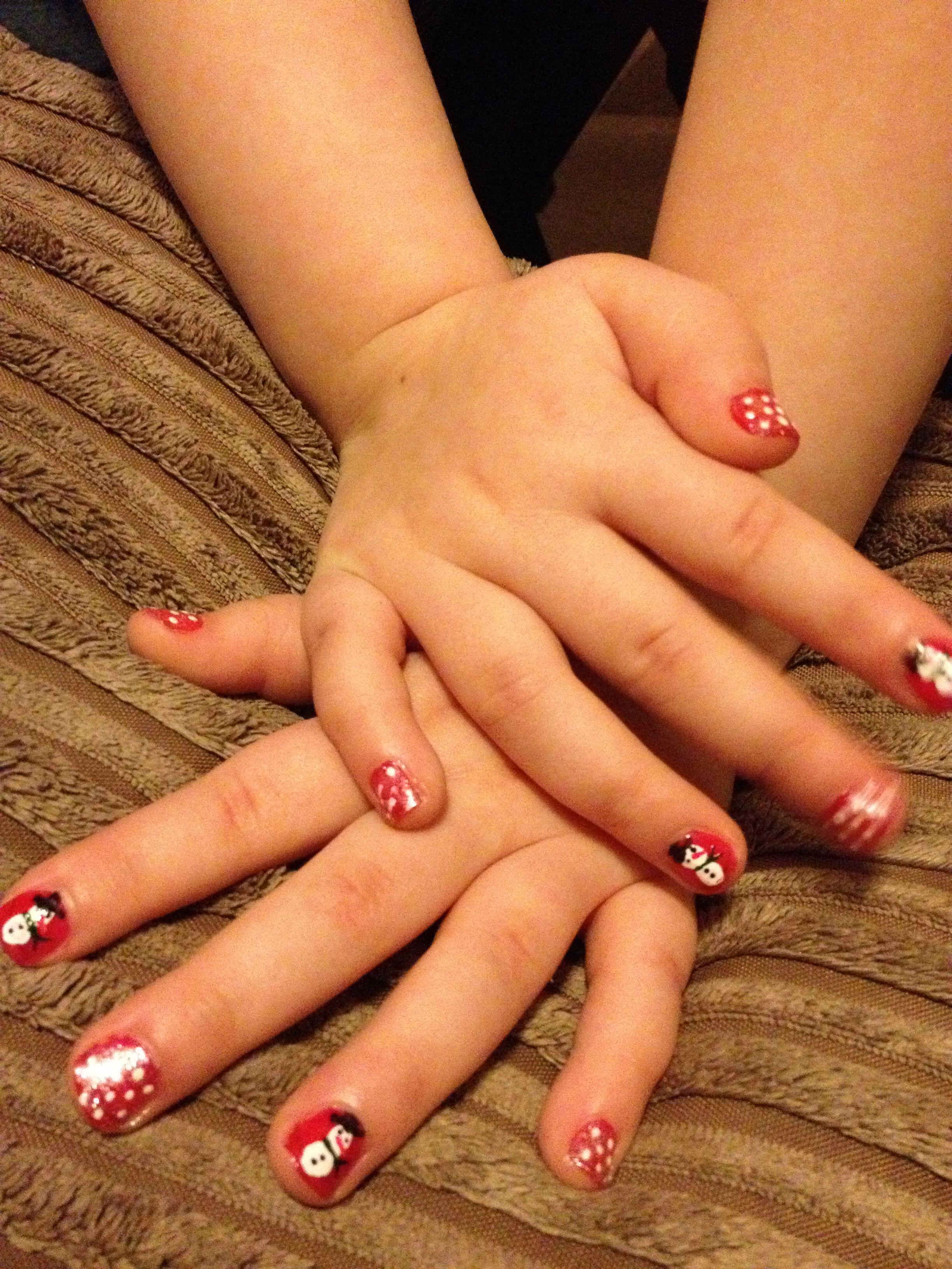 Christmas Nail Art For My Little Girl Little Girl Nails Kids Nail Designs Nails For Kids