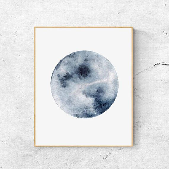 Impression De Lune D Aquarelle Indigo Blue Moon Art Impression