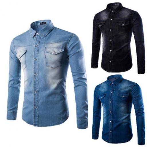 Luxury Mens Classic Casual Denim Shirt Long Sleeve Stylish Slim Fit Dress Shirts Solid Regular China
