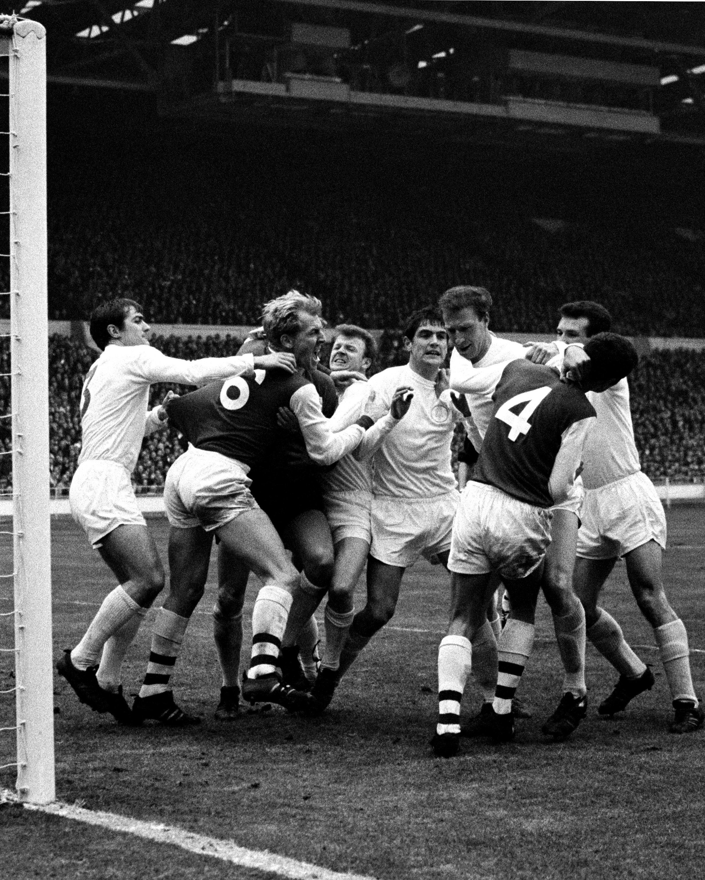 A first-half goalmouth fracas ensued as tempers flared following Frank McLintock's aerial challenge on Leeds' goalkeeper Gary Sprake. The Leeds players were smiling after the final whistle as they won the 1968 final 1-0 thanks to a disputed goal by Terry Cooper Photograph: PA