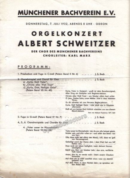 Schweitzer Albert  Concert Program   Products