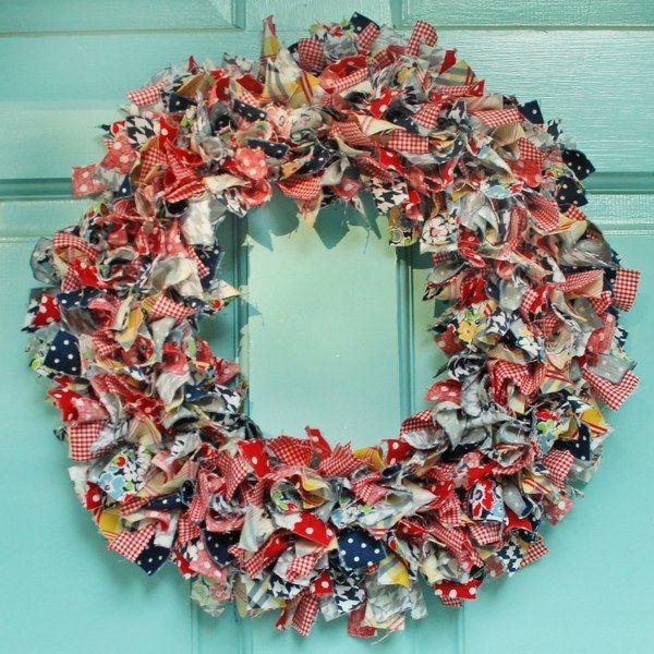 DIY Summer Rag Wreath | Crafts | Pinterest | Wreaths, Wire coat ...