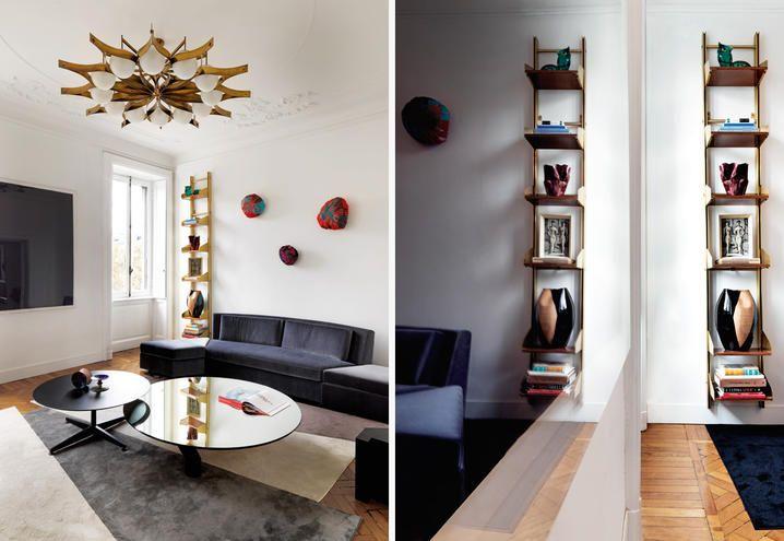 In soggiorno nella libreria anni 50 pezzi insoliti come dal basso vaso di g lamorgese quadro di gio ponti vaso di la murrina e civetta in vetro di