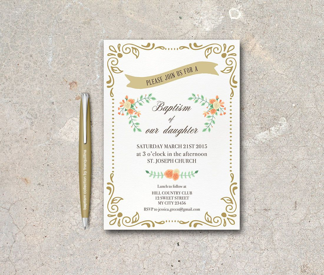Printable Baptism Invitation Digital File White by tranquillina ...