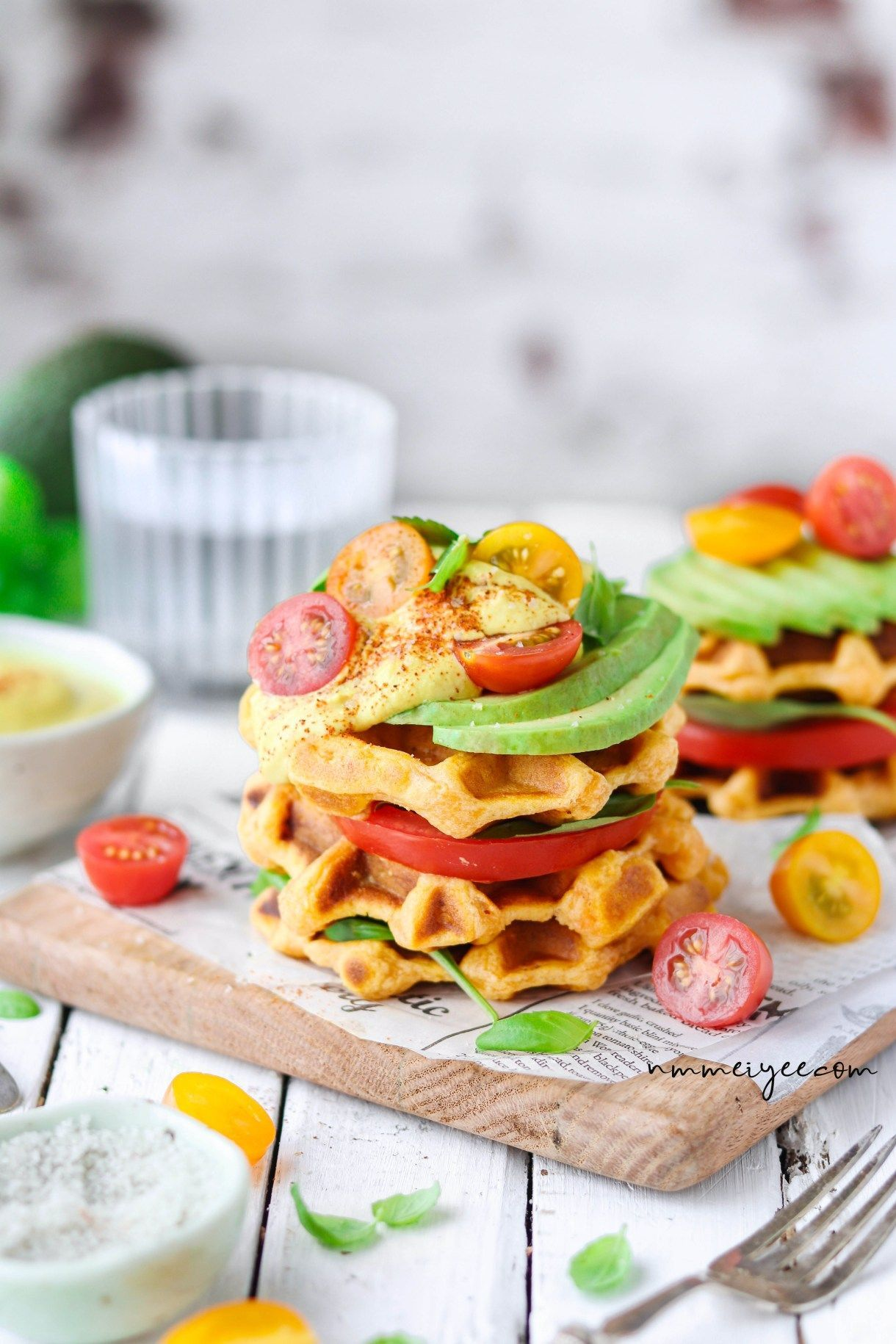 Sweet potato waffles with vegan hollandaise sauce | nm_meiyee #hollandaisesauce Sweet potato waffles with vegan hollandaise sauce | nm_meiyee #hollandaisesauce