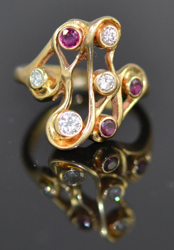 Fluid, Art Nouveau Style Ring, Bezel Set With Diamonds And Rubies In 14k Gold.  A One Of A Kind Beauty.  Size 6 1/2.
