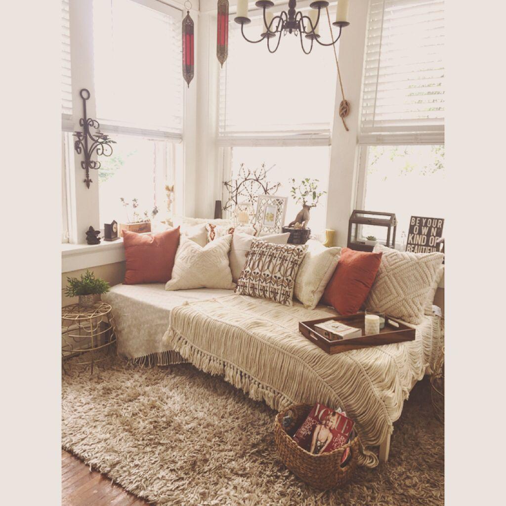 Boho Sunroom :: $39 ikea hack FJELLSE twin bed frame | living room ...