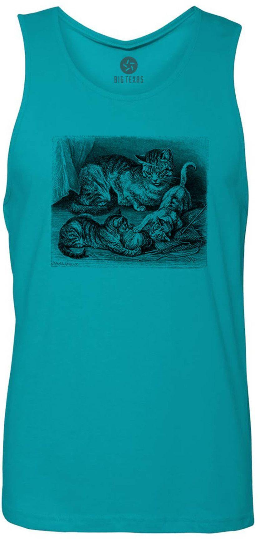Kittens Playing with Yarn (Black) Tank-Top T-Shirt