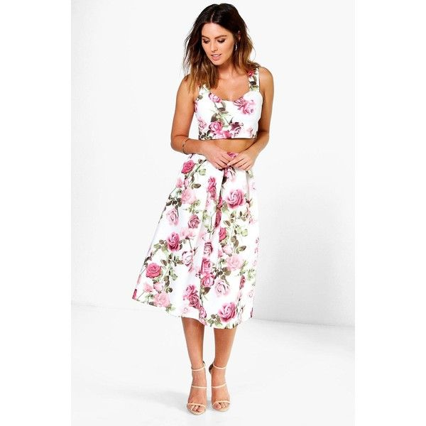 0bcbdc7a9 Boohoo Night Lola Floral Print Top And Midi Skirt Co-Ord ($35) ❤ liked on Polyvore  featuring skirts, multi, white midi skirt, floral skort, white floral ...