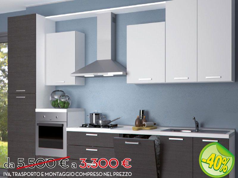 Cucina lineare moderna in frassino bianco e frassino grigio ...
