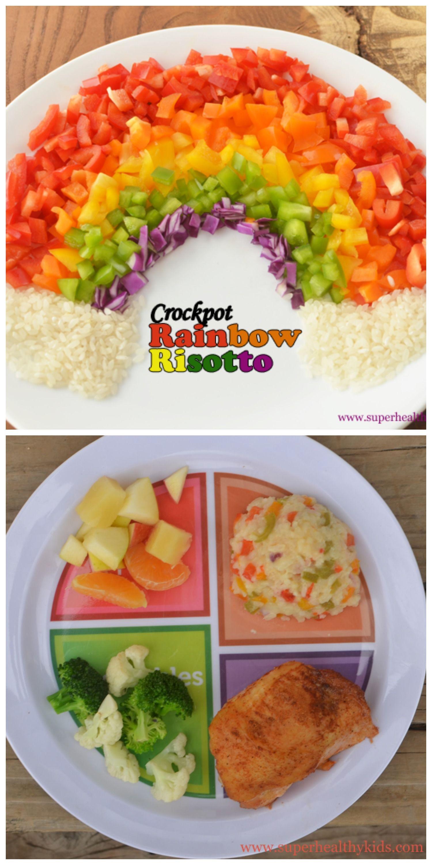 Crockpot Rainbow Risotto- So cheesy and yummy!! www.superhealthykids.com