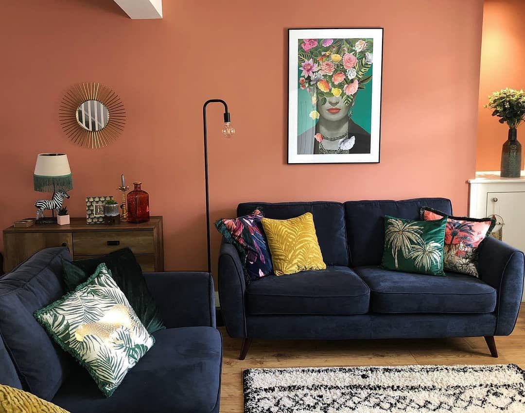 Dfs On Instagram Sun Sofas And Sangria Bring A Marbs Moment To Your Living Room With Terracotta Walls And Bot Sofa Decor Blue Sofa Decor Blue Living Room
