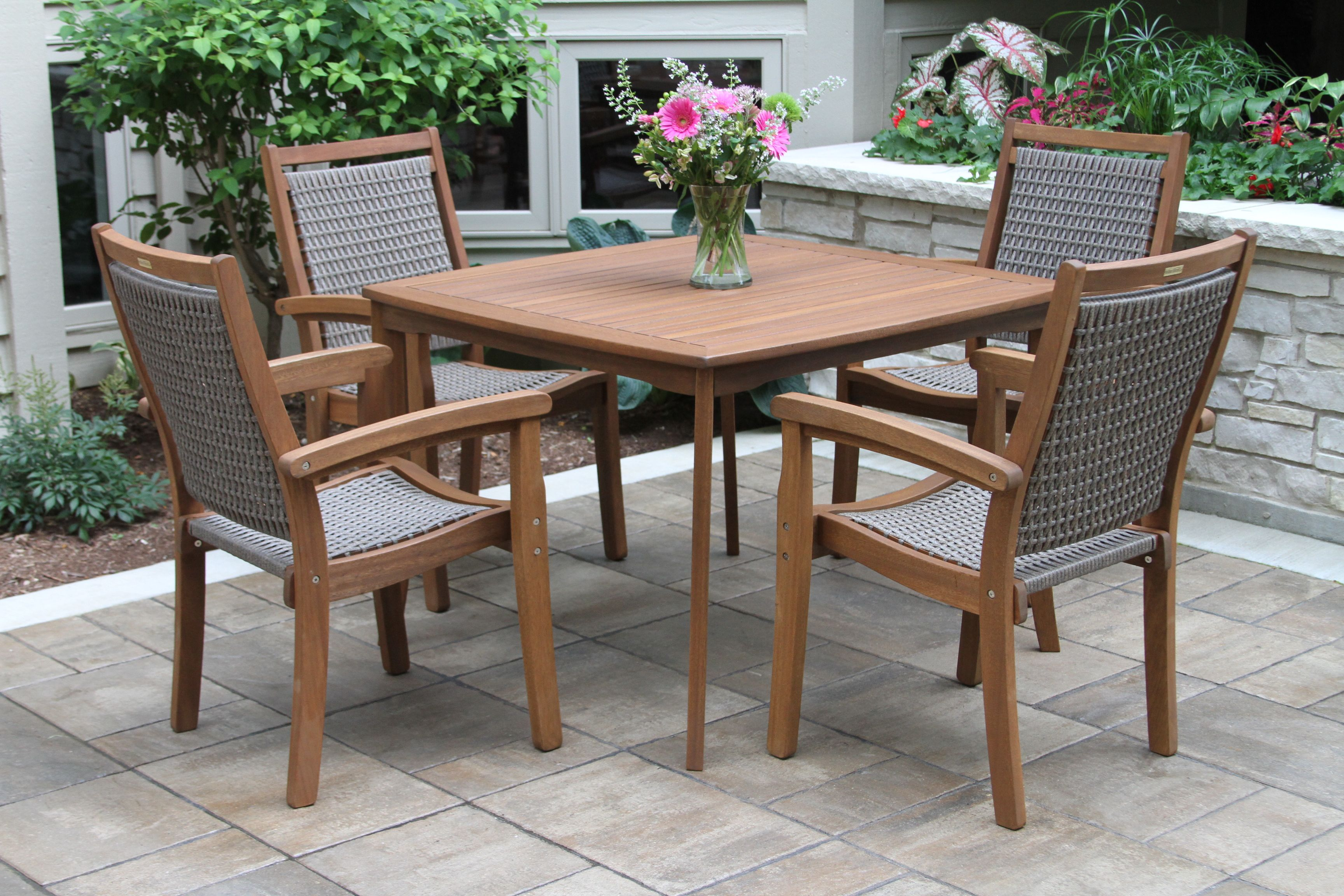 42 Square Eucalyptus Dining Table Set With Wicker Stacking Arm Chairs