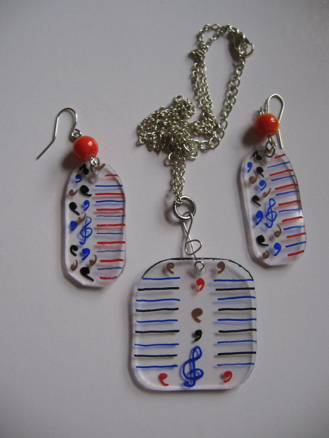 Handmade Set, Shrink Plastic Earrings and Necklace Мusical