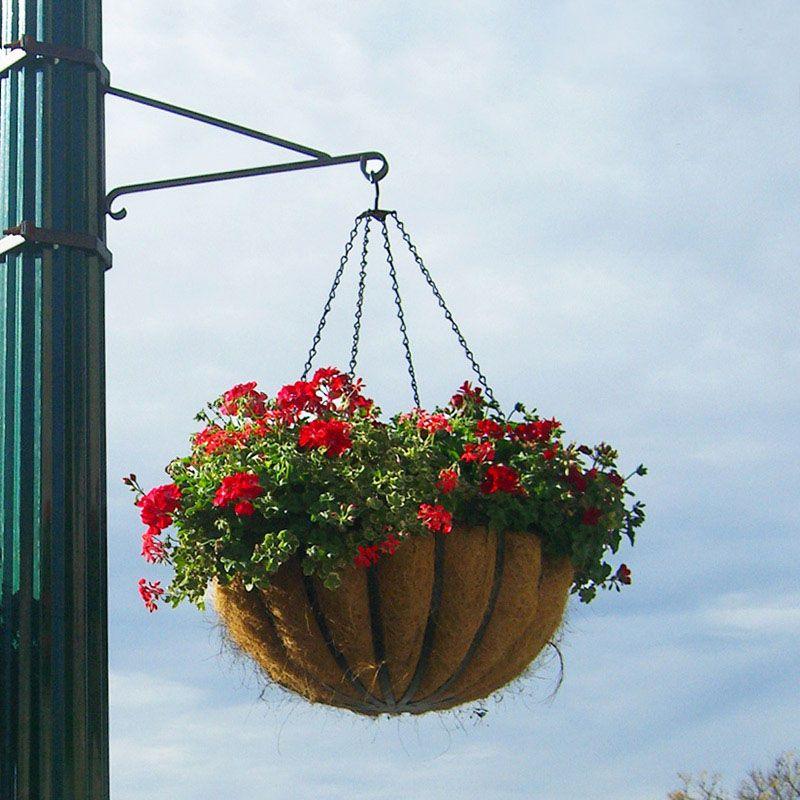 Outdoor Post Lights Ireland: One-Way Scroll Arm Lamp Post Bracket