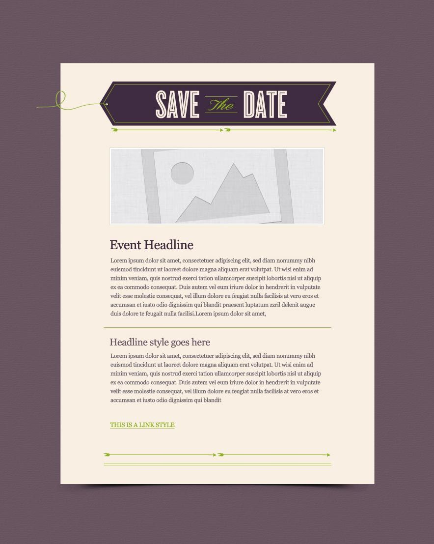 SaveTheDateArrowTagJpg   Email Design Swipe File