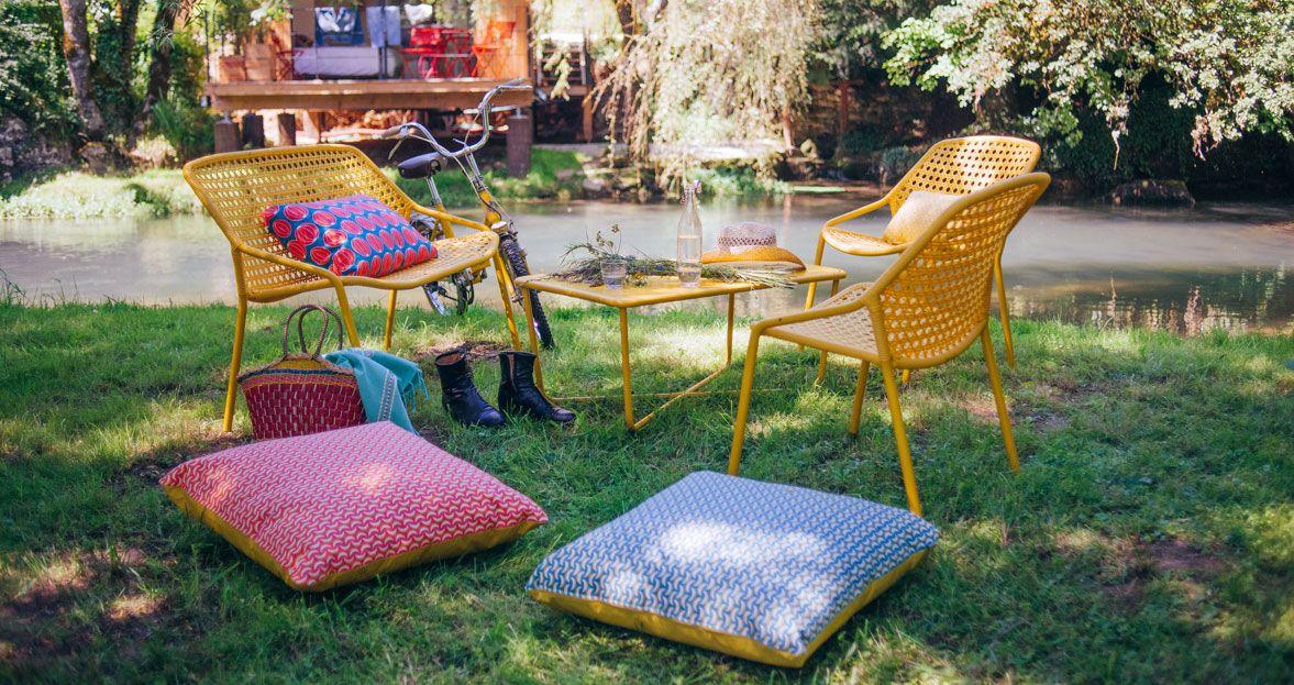 Fermob, Croisette, salon de jardin, fauteuil de jardin, table ...