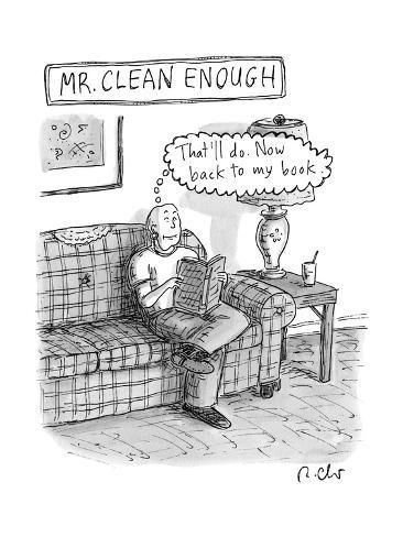 size: 12x9in Premium Giclee Print: Mr. Clean Enough -- sits on his sofa, and thinks,