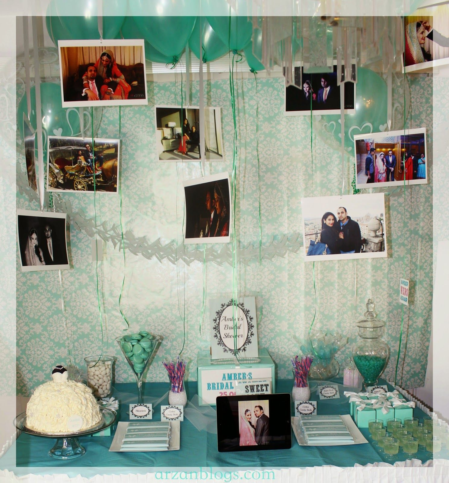 Amber's Tiffany & Co. themed Bridal Shower: http://arzanmontreal.blogspot.ca/2015/04/ambers-bridal-shower.html   Dessert Table/Candy Buffet: Dress cake, Macarons, Personalized Hershey's Chocolate Bars, Favor boxes, rock candy, jelly beans