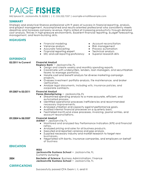 Financial Analyst Resume Business Analyst Resume Resume Examples Job Resume Samples