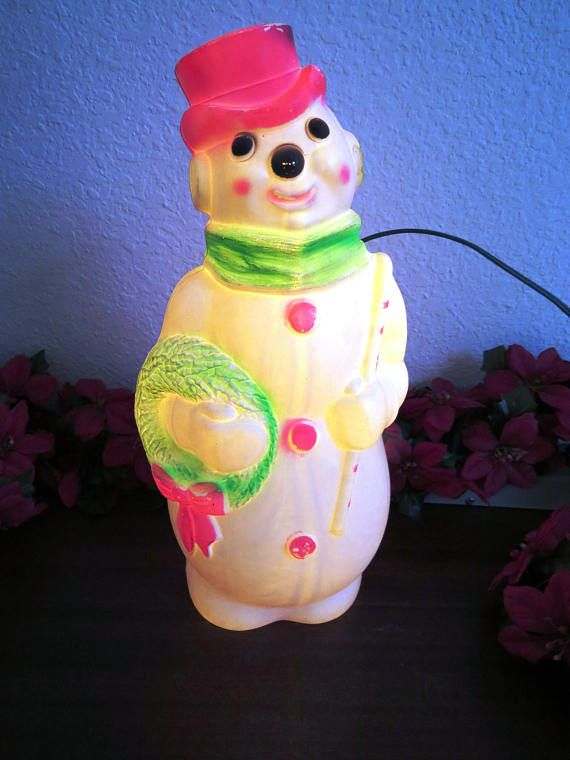 Vintage Light Up Snowman By Empire 1968 Blow Mold Electric