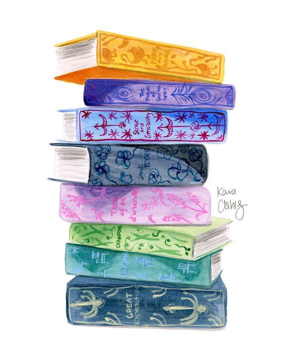 Classic Book Stack Art Print Watercolor Books Book Drawing