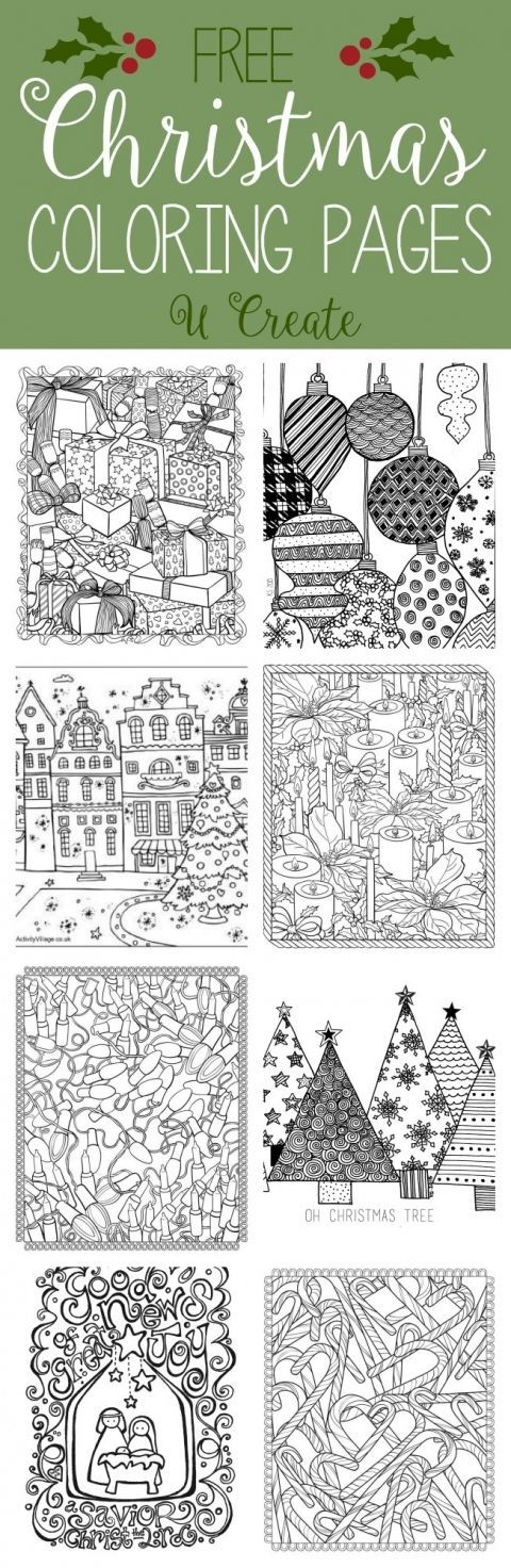 Free Christmas Adult Coloring Pages At U Create Great As Embroidery Patterns