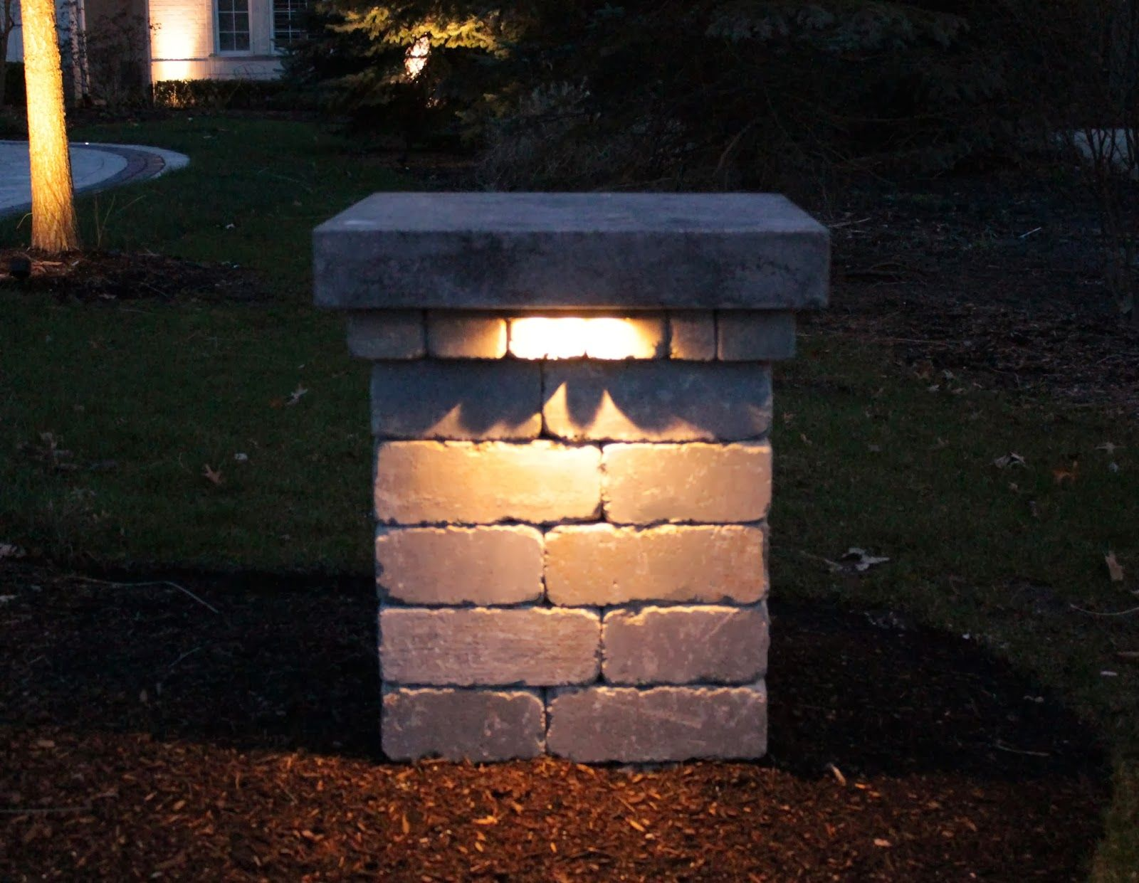 Driveway pillar lighting google search garden for In ground landscape lighting fixtures