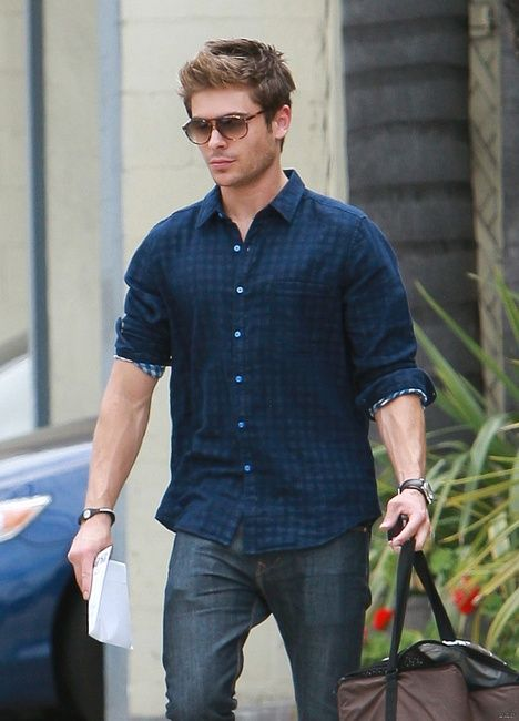 Zac Efron wearing l/a/d Craftsman Shirt