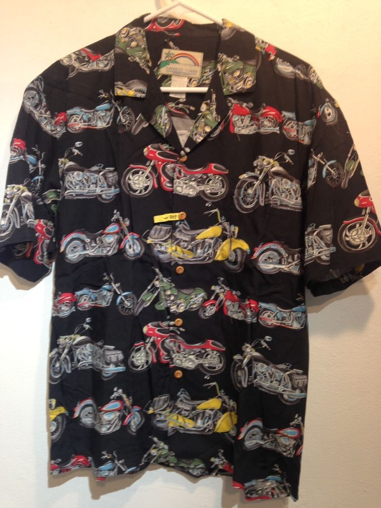 7d5825a0 paradise found motorcycle hawaiian shirt Size M #ParadiseFound #Hawaiian