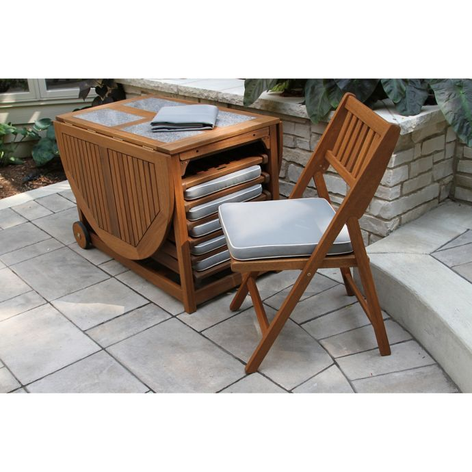 Outdoor Interiors® 7 Piece Eucalyptus Wood Folding Dining 640 x 480