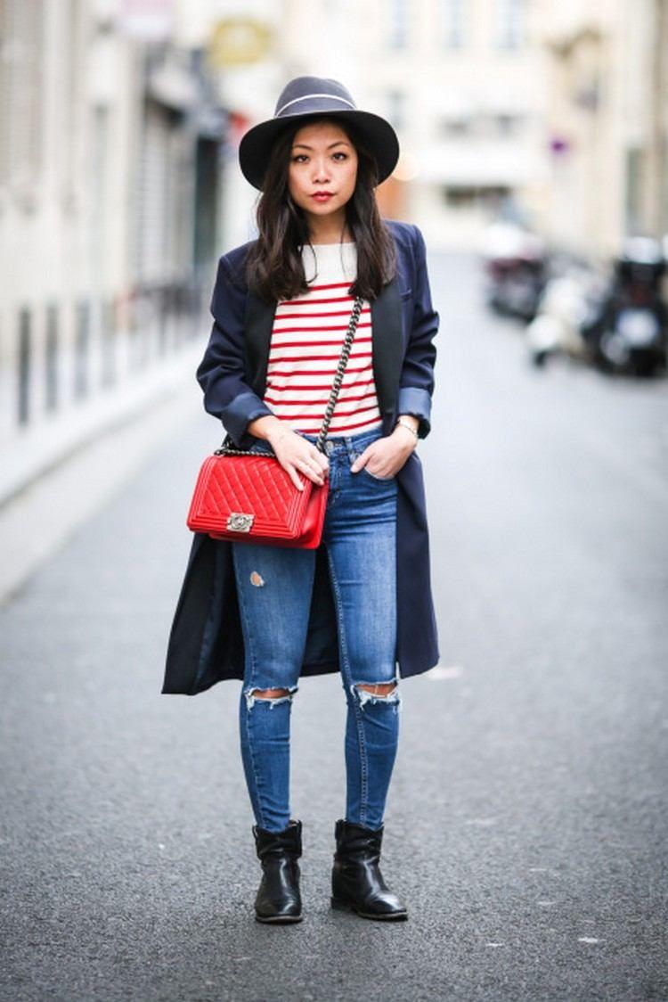 comment porter des bottines norie avec jeans petit sac cuir rouge manteau  long 1302b753dcfd