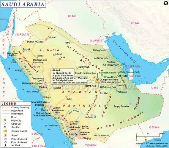 cool Saudi Arabia Map Holidaymapq Pinterest Saudi arabia