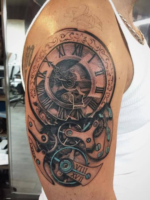 chronic ink tattoo toronto tattoo half sleeve clock tattoo in progress done by janice. Black Bedroom Furniture Sets. Home Design Ideas