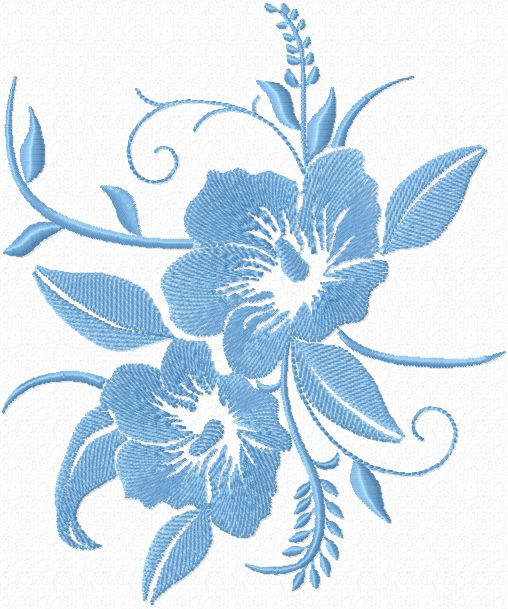 Free Blue Flowers Machine Embroidery Design Machine Embroidery
