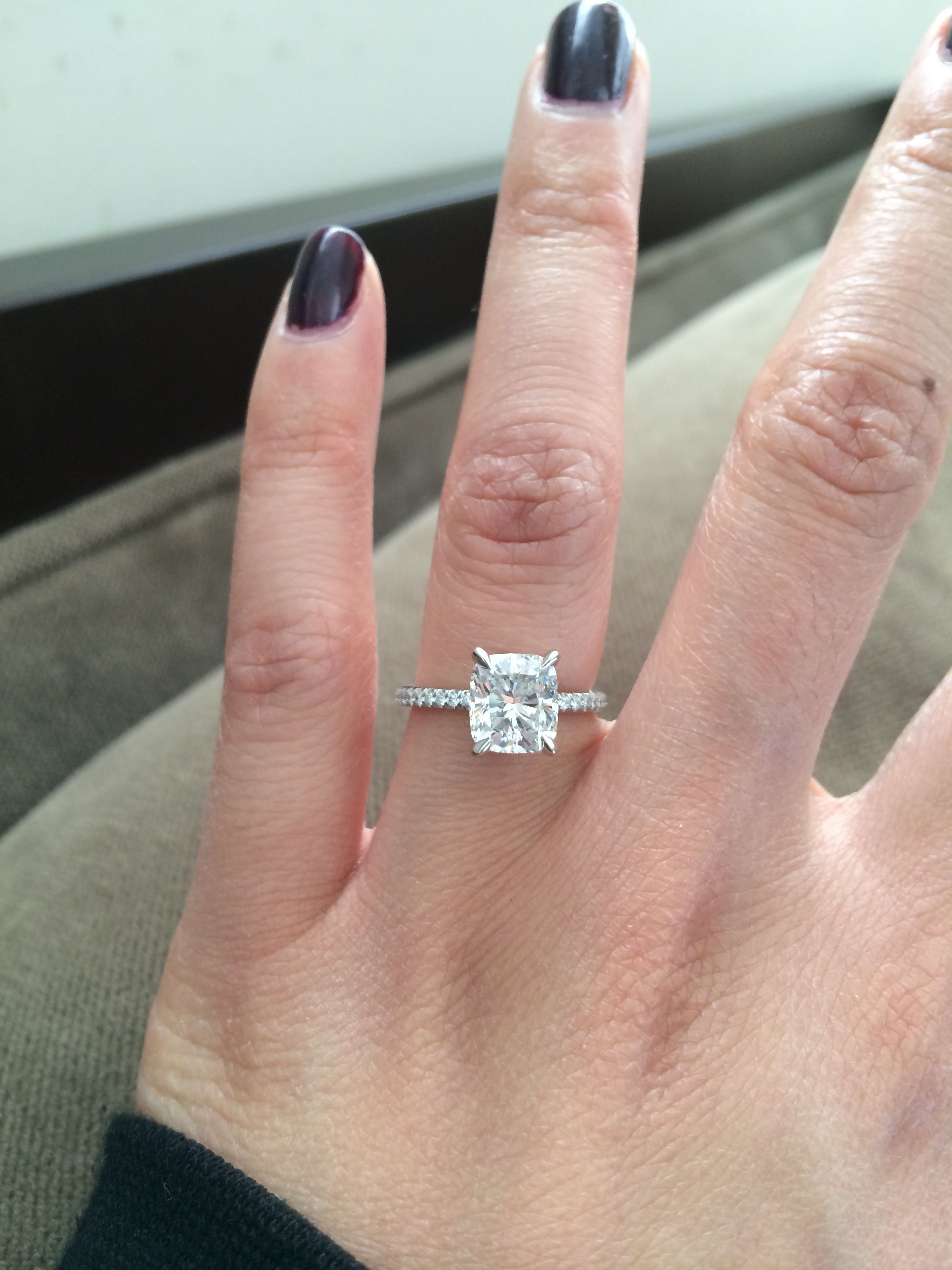 Looking for pics w/ a 1.5-1.8 cushion cut diamond preferably on a ...