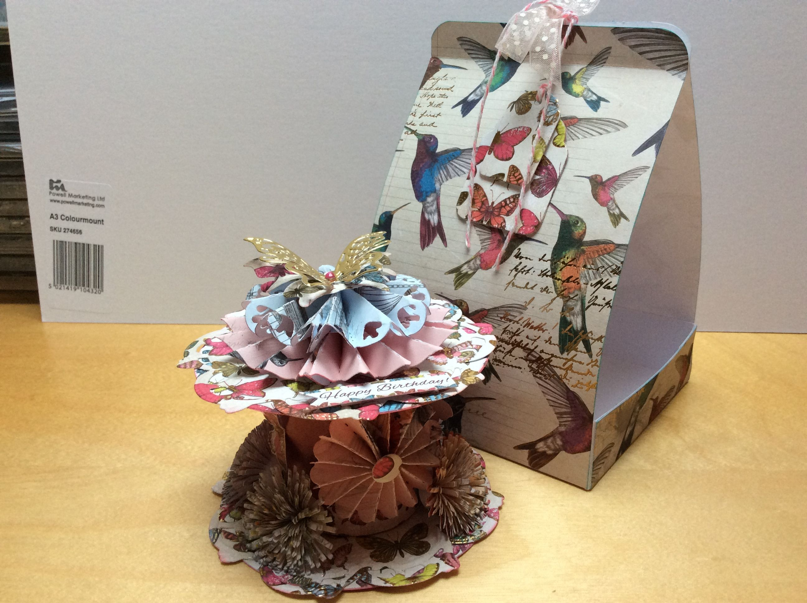 Decorated spool and box made with craftwork cards paradise papers