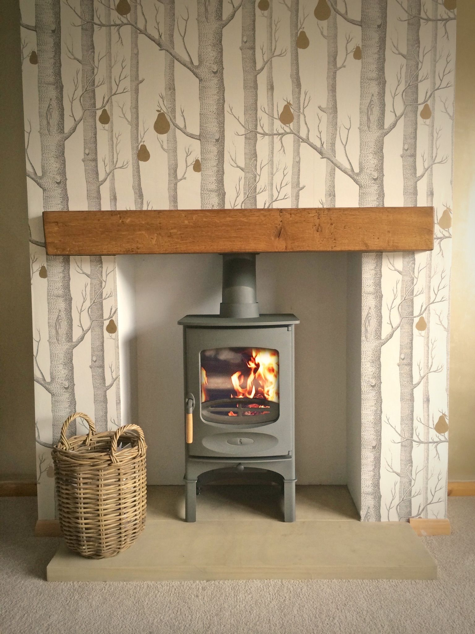 Sawn Yorkshire Stone Hearth 50mm Wallpaper Living Room Woodland